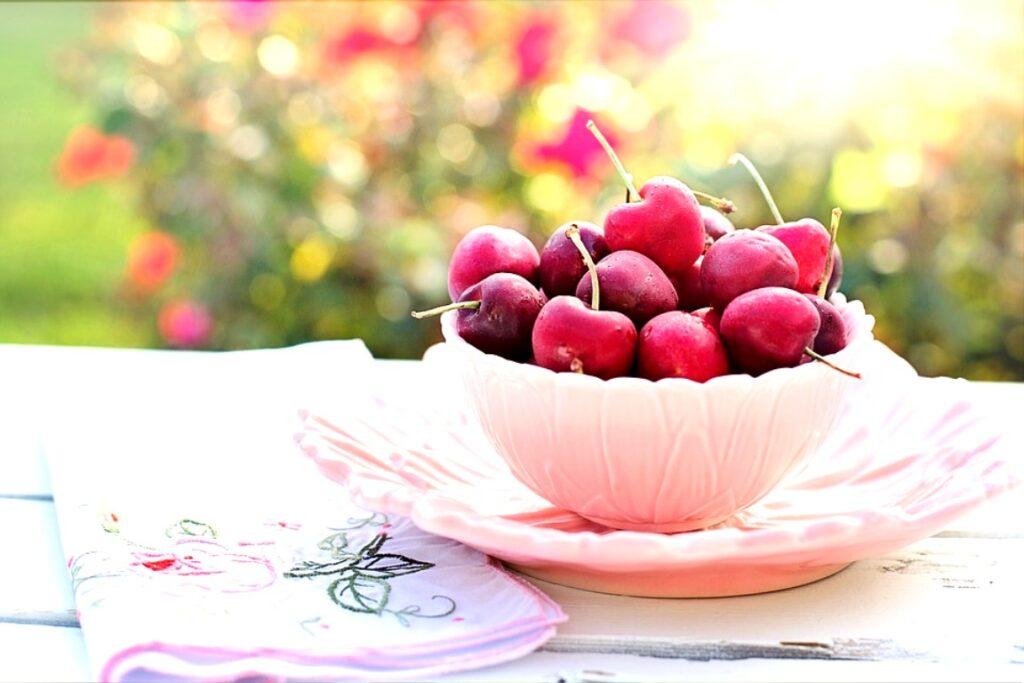 Cherries Bowl Fruit Morning Breakfast Photos
